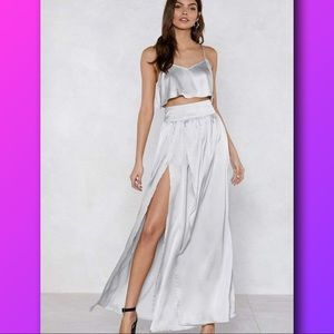 NEW Nasty Gal Silver crop top skirt set